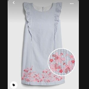 GAP Girls Ruffle Floral Embroidered Stripe Dress